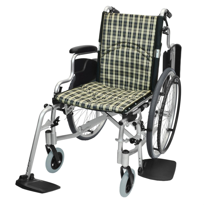 ケアテックジャパン 自走式 アルミ製 折りたたみ 車椅子 コンフォート CAH-50SU (チェックベージュ) B06ZZN7162 チェックベージュ チェックベージュ