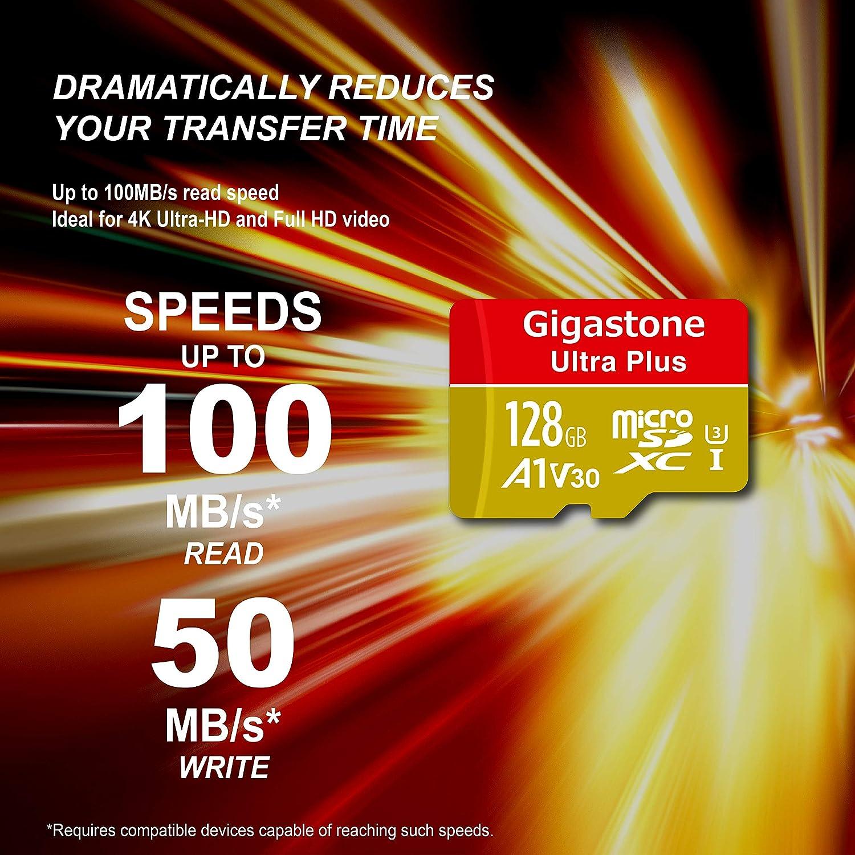 Gigastone Micro SD Card 128GB Micro SDXC A1 V30 U3 C10 High Speed Memory Card Class10 UHS-1