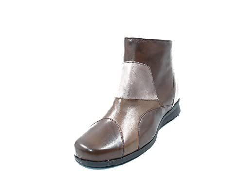 Botines mujer PITILLOS en piel marrón combinado color taupe - 2206 - 5M: Amazon.es: Zapatos y complementos