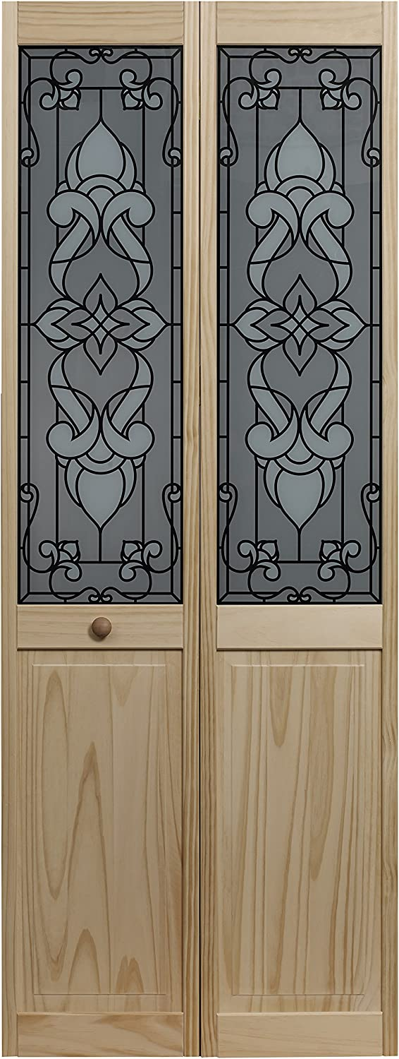 LTL Home Products 851726 Eternity Half Glass Interior Bifold Solid Wood Door, 30 Inches x 80 Inches, Unfinished Pine