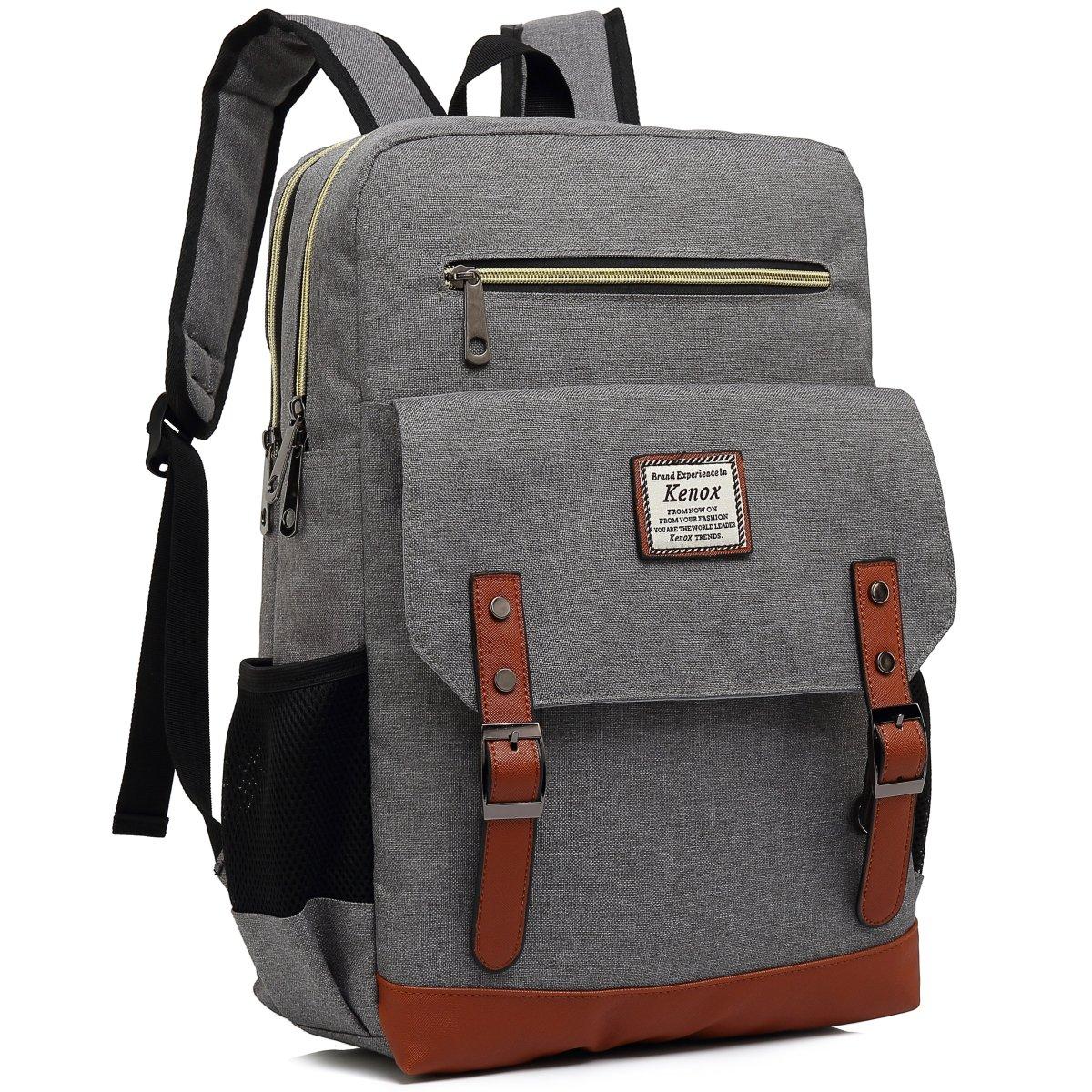 Kenox Mens Large Vintage Canvas Backpack School Laptop Bag Hiking Travel Rucksack (Greyfabric)