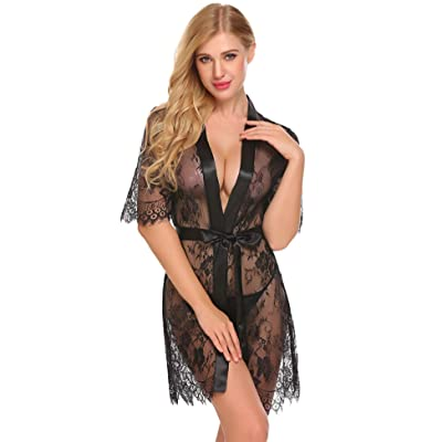 Acecor Women Lace Kimono Robe Short Sheer Nightgown Lingerie Chemise Set S-XXL