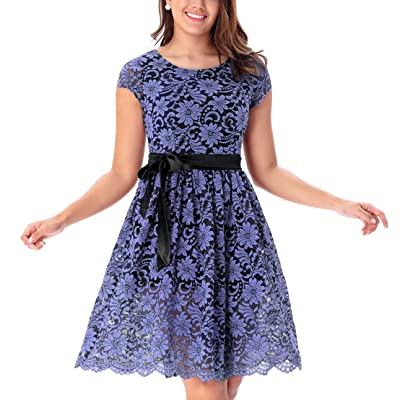 One Sight Women's Vintage Floral Lace Dress Contrast Bow Cocktail Evening Party Dress