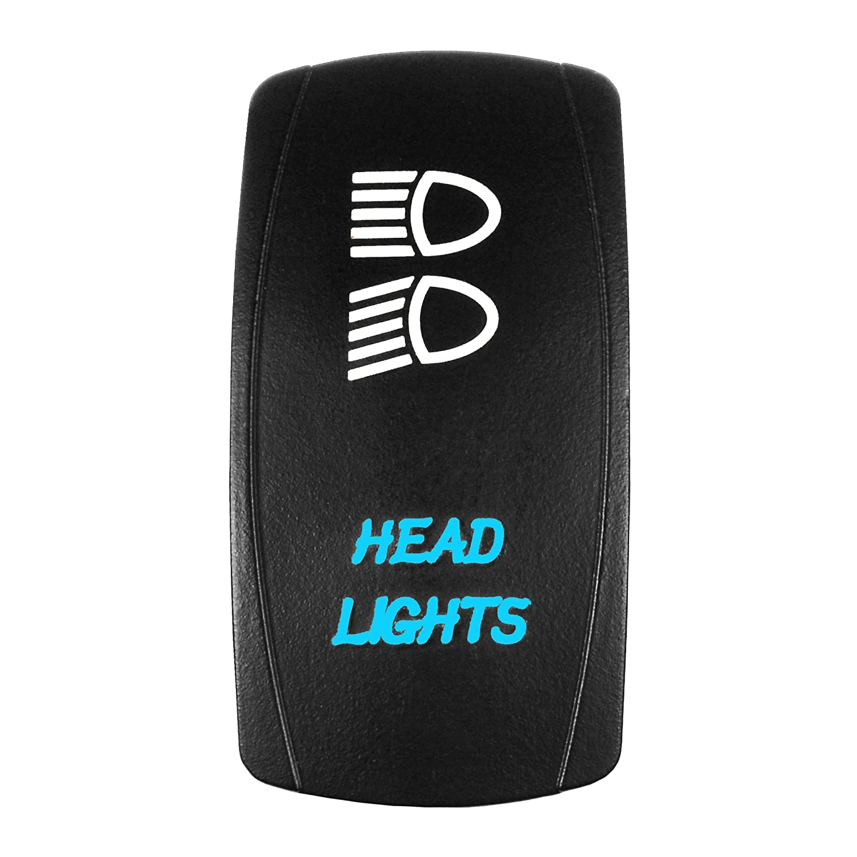 HEADLIGHTS 3 Position -12 Volt Universal Off//On//On orange Laser Rocker Switch Bright Light Powersports