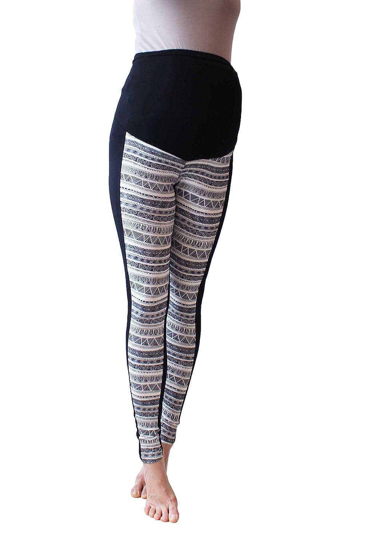 Maternity Leggings , Mirror Print Over bump,Polo sport , Black, No See Through Maternity Leggings (M, sport club print) Mia studio