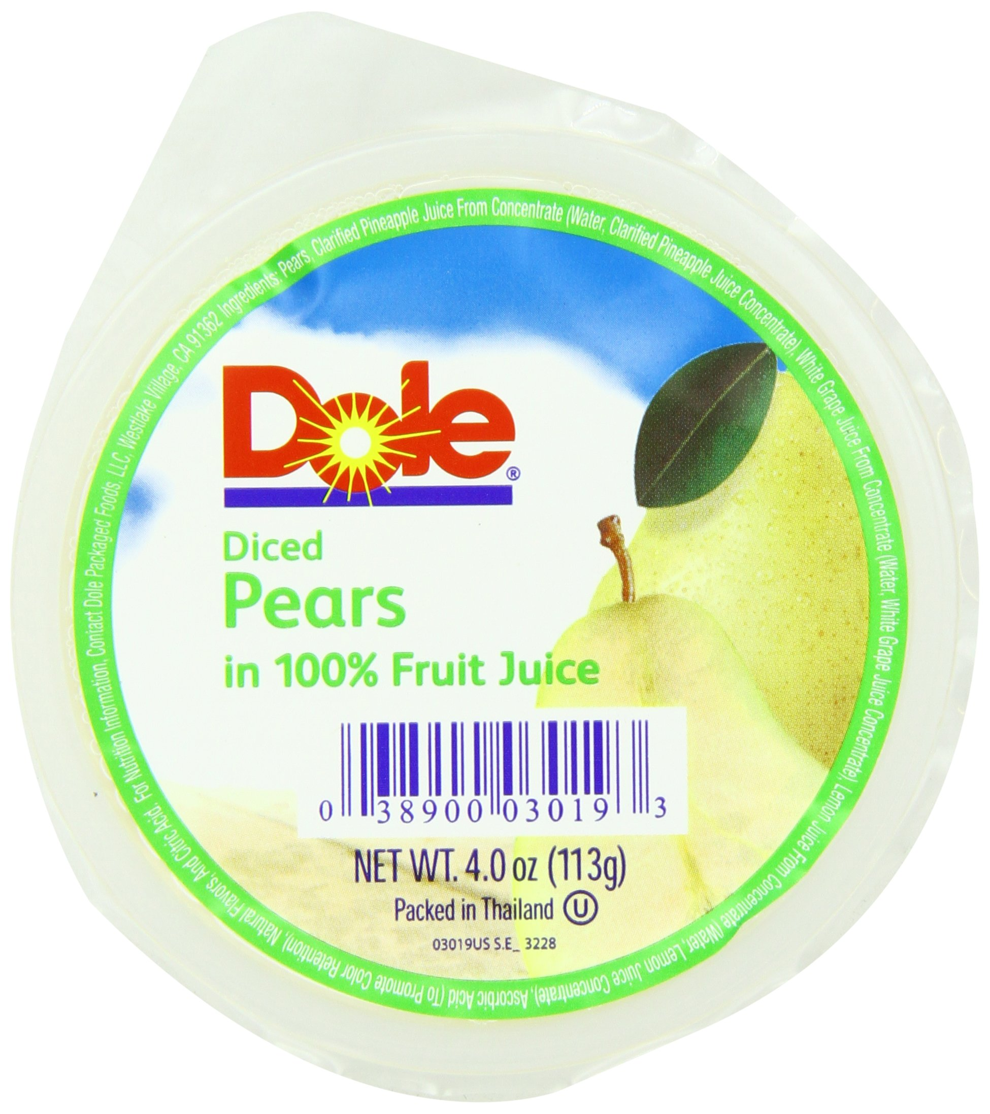Dole Diced Pears, 4-Ounce Cups (Pack of 36) by Dole