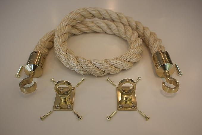 36mm Barrier Rope Soft Poly Hemp Decking Rope Satin Chrome Fittings Hooks 2 Mtr