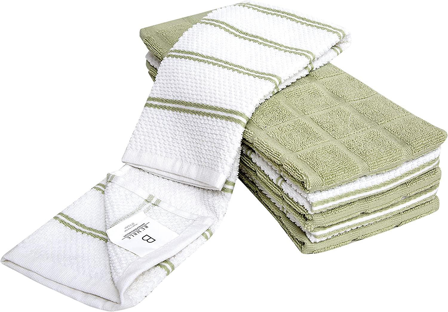 """6 Pack XL Popcorn Grid Kitchen Towel Set / 16"""" x 28""""/ Thick, Plush 100% Ring-Spun Cotton / 3 Yarn Dyed, 3 Solid Dyed Variety Pack/Sage Luxury Hand Towels"""