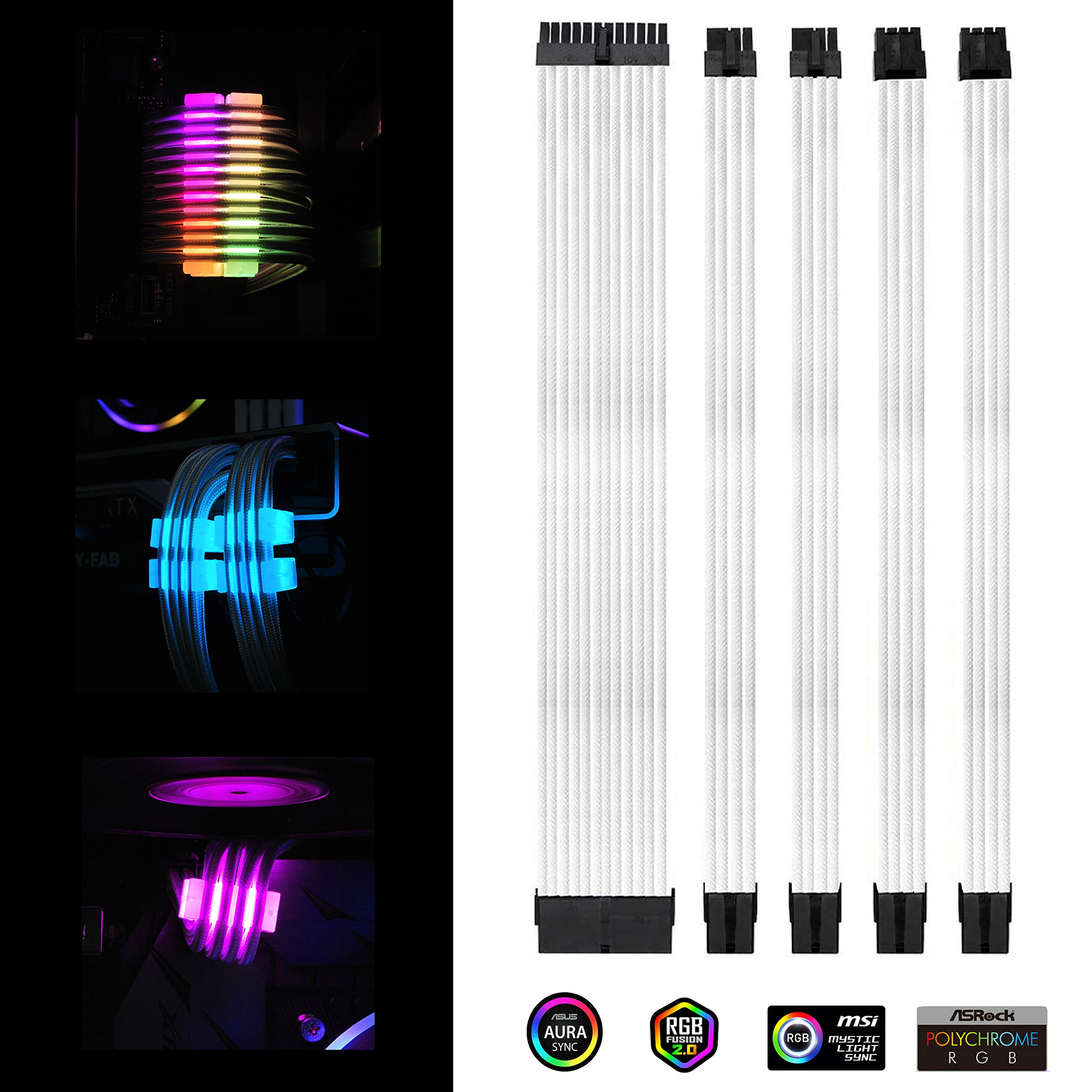 EZDIY-FAB White PSU Extension Kit 300mm with RGB Cable Combs - 24-PIN 6+2-PIN 4+4-PIN with RGB Combs for Cable Management with RF Control by EZDIY-FAB