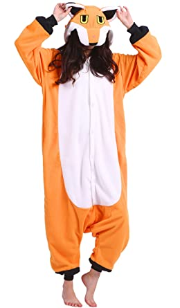 Unisex Adult Animal Pajamas Plush One Piece Cosplay Fox (148-187cm)