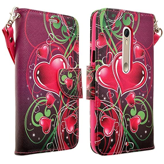 Motorola Droid Turbo 2 (Verizon) Wallet Case Pouch Protective Cover w. Credit Card