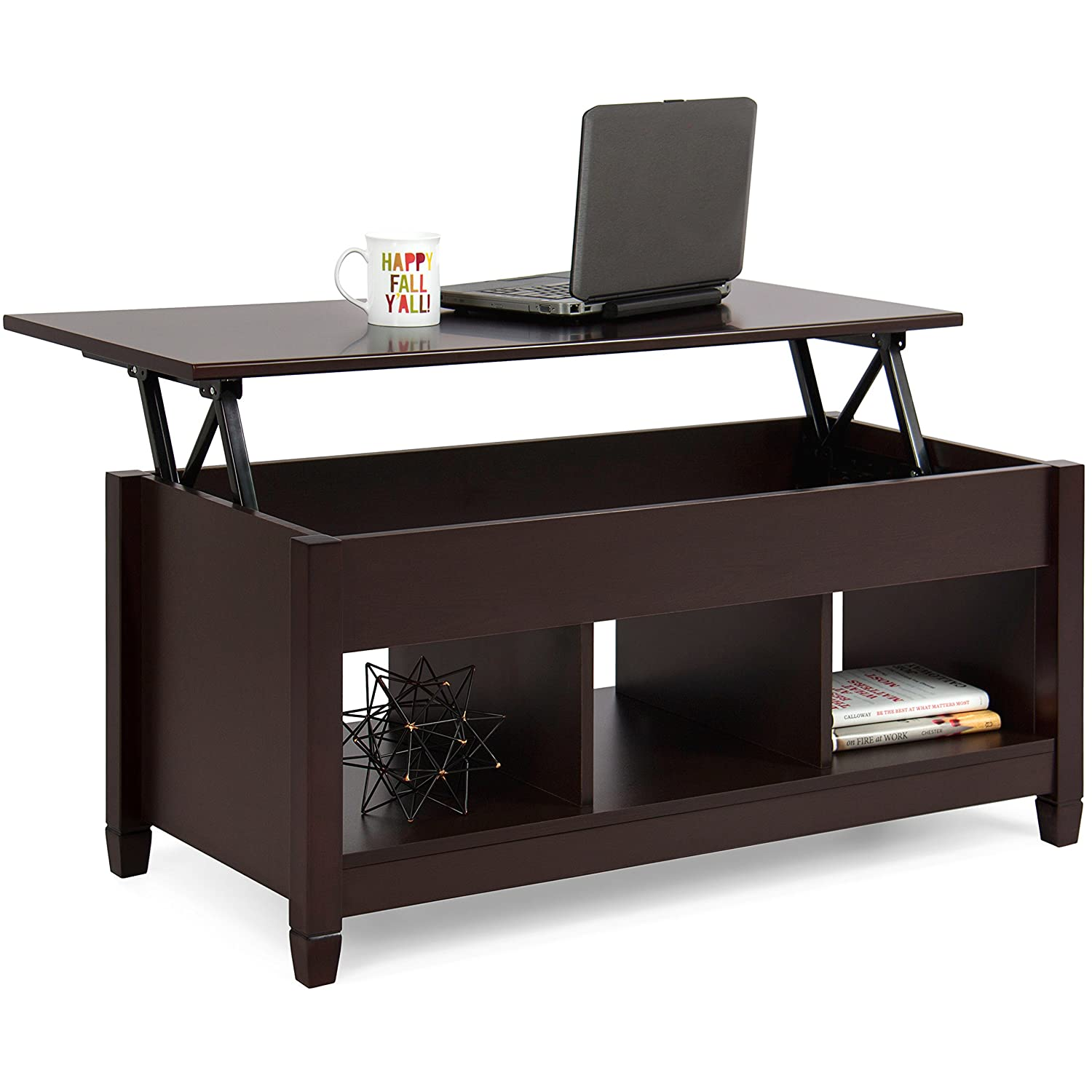 Best Choice Products Wooden Modern Multifunctional Coffee Dining Table for Living Room, Décor, Display with Hidden Storage and Lift Tabletop, Espresso