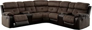 HOMES: Inside + Out Payton Reclining Sectional Sofa, Brown/Espresso