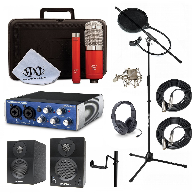 Home Recording Studio Bundle MXL 550/551R HP10 Stand PreSonus AudioBox USB Samson Media ONE BT3 Speakers by MXL, Presonus, Samson