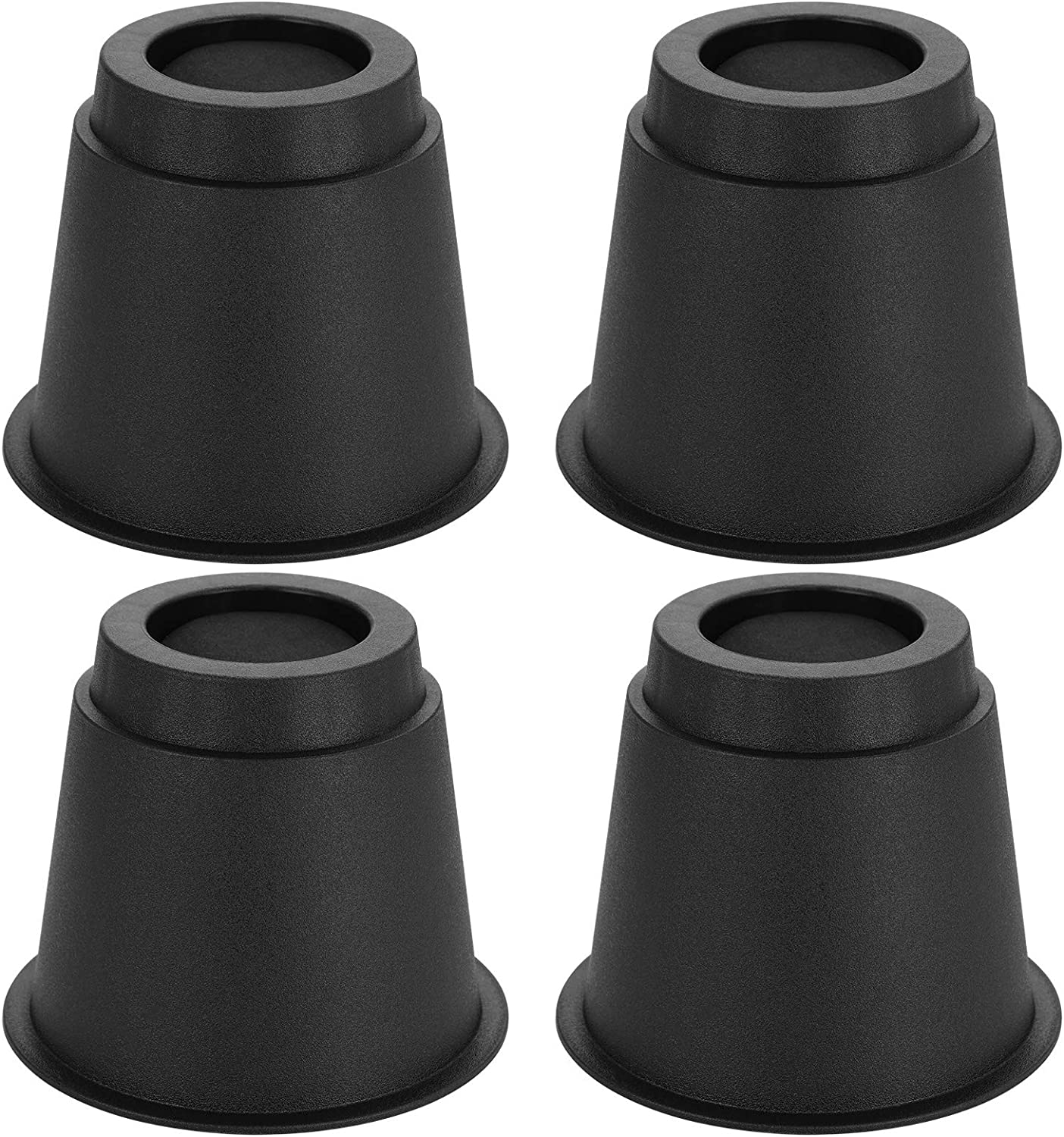 OwnMy 5 Inch Round Circular Bed Risers Bed Lifters Heavy Duty Furniture Risers Lifter for Bed Table Chair Desk Sofa Couch Risers, A Set of 4 (Black)