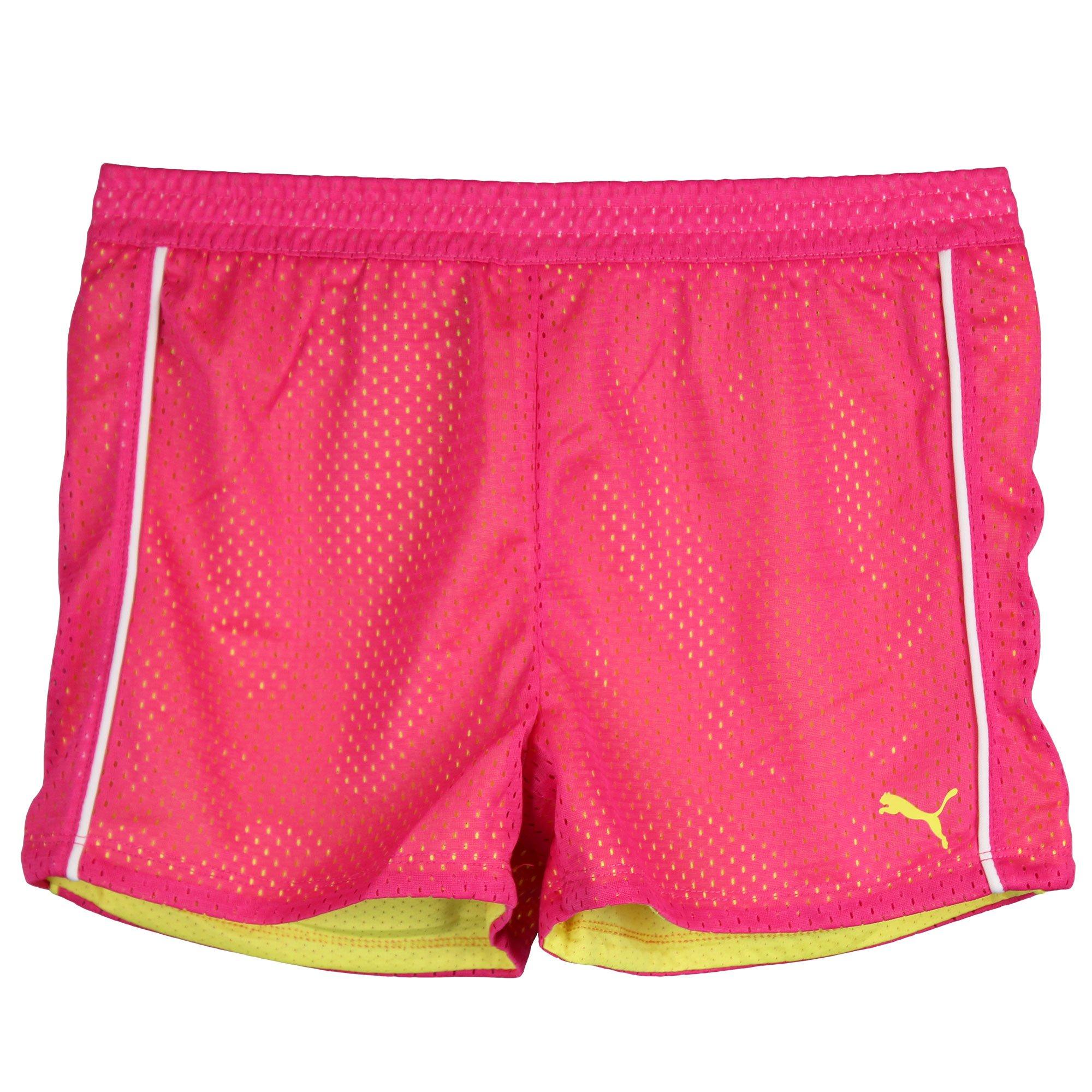 PUMA Little Girls Mesh Athletic Exercise Gym Shorts Pink Yellow White Size 6