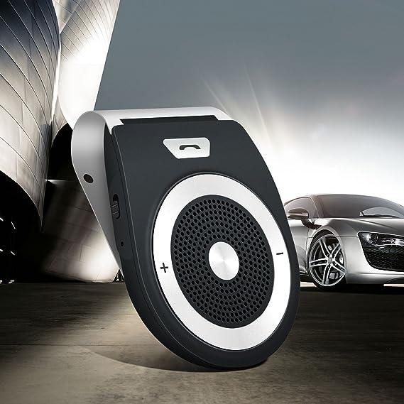 Bluetooth inalámbrico 4.1 Altavoz del coche Teléfono Kit del coche Adaptador estéreo del coche Visera del sol Manos libres Simultáneamente Pair 2 Teléfonos ...
