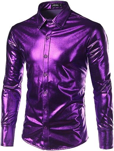 Los Hombres De La Moda Bling Delgado Manga Brillante De Larga Ropa Camisetas Camisa De Down Disc Dance Tops Clubwear Cosplay Blusa Tops: Amazon.es: Ropa y accesorios