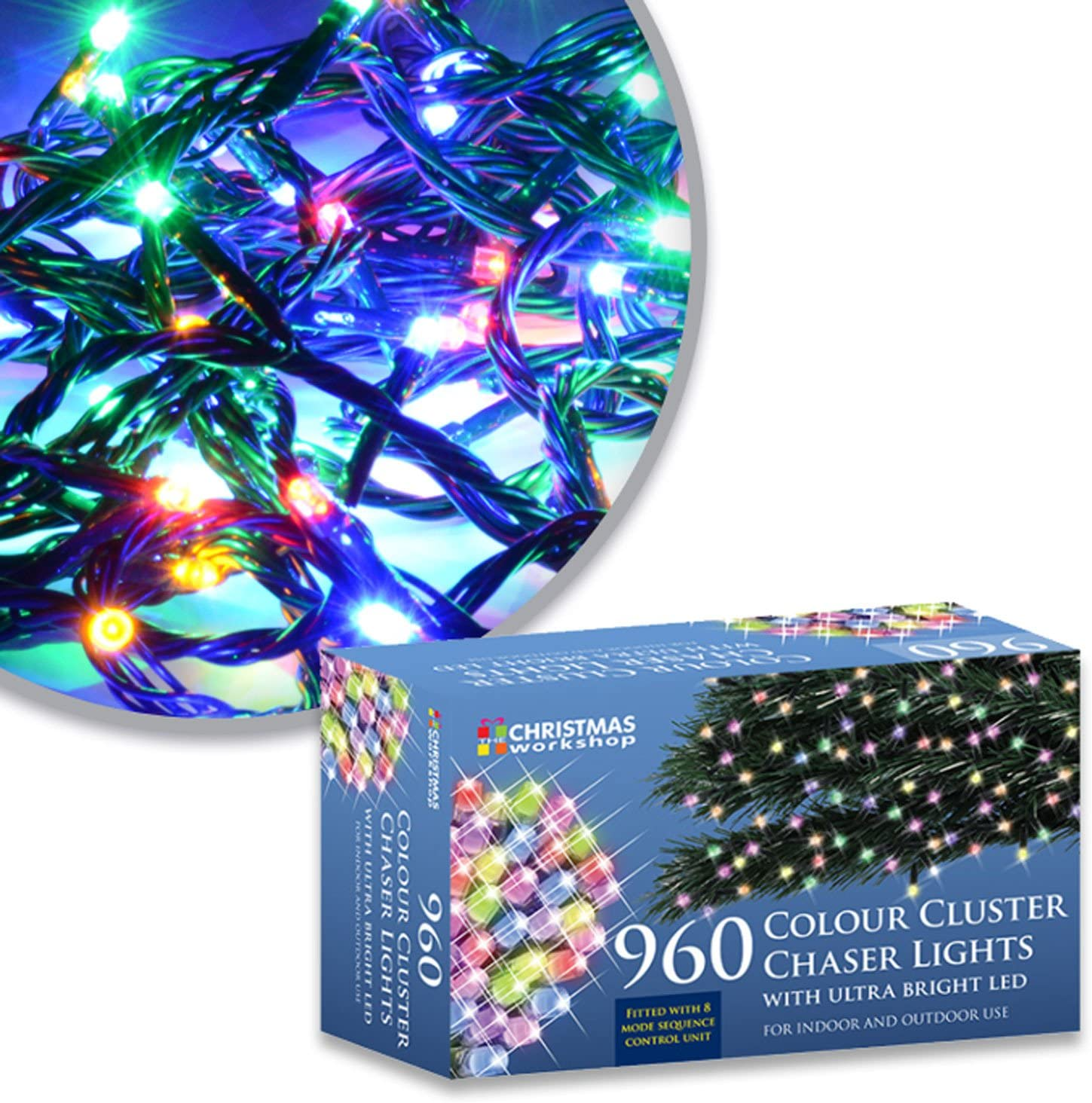 The Christmas Workshop 960 LED Chaser Cluster String Lights Warm White