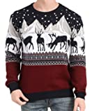 v28 Men's Christmas Reindeer Snowman Penguin Santa and Snowflakes Sweater