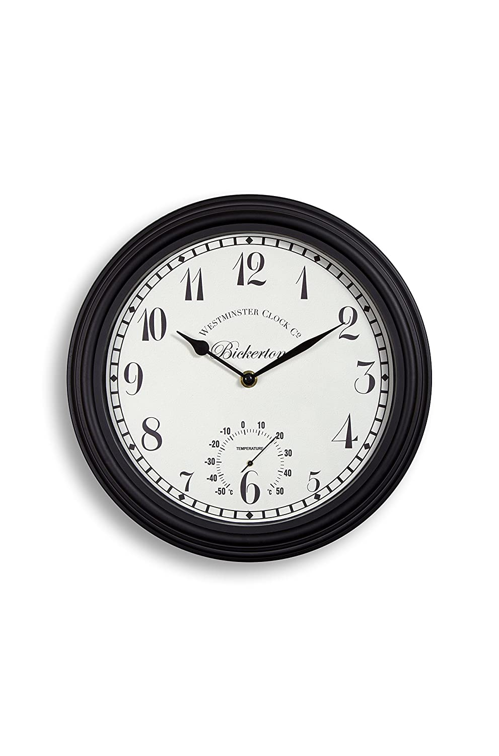 Outdoor indoor Garden Wall Clock Thermometer 30cm 12 inch rust colour Home and Garden Products Ltd