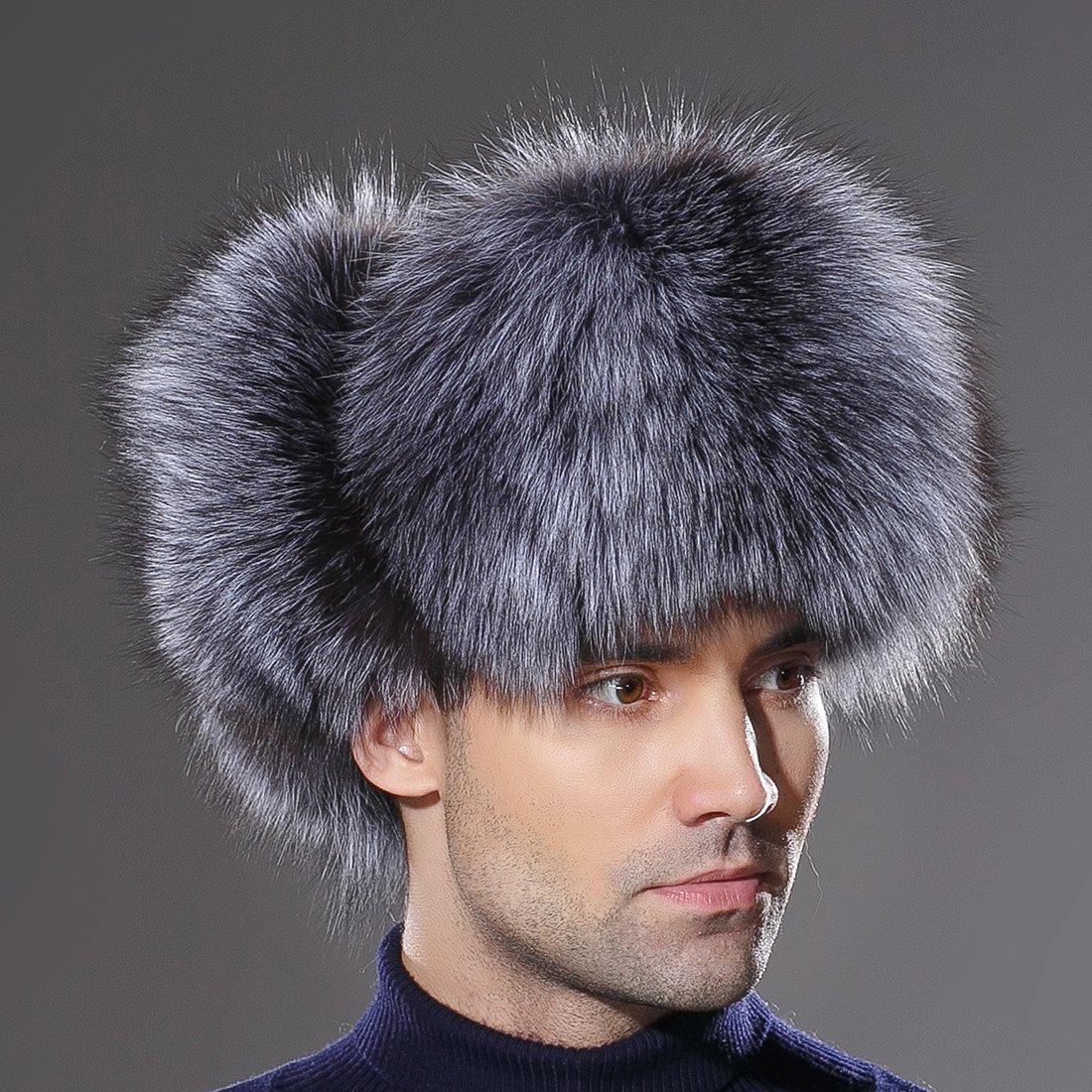 URSFUR Winter Mens Russian Ushanka Hat Real Leather & Silver Fox Fur Trapper Cap by URSFUR (Image #2)