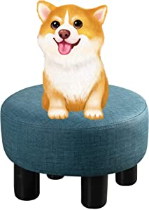 Small Foot Stools Blue, Round PU Leather Padded Ottoman Foot Rest with Non-Skid Plastic Legs, Footstools and Ottomans Small Comfy Footstool upholstered for Couch, Desk, Office, Living Room