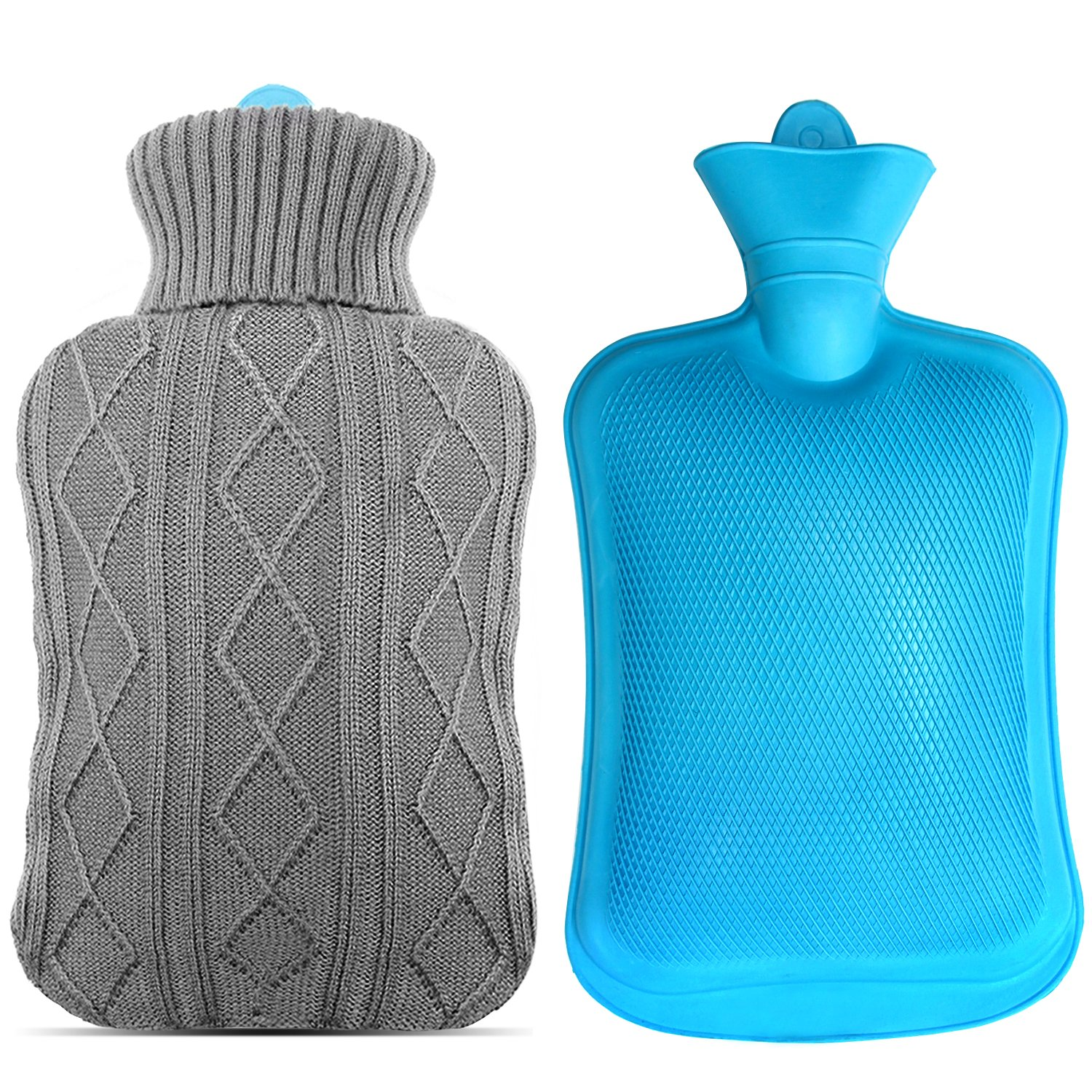 Mture Hot Water Bottle With Natural Rubber and Soft Knitted Removable Cover, 2 Litre, Grey 929HWBBU