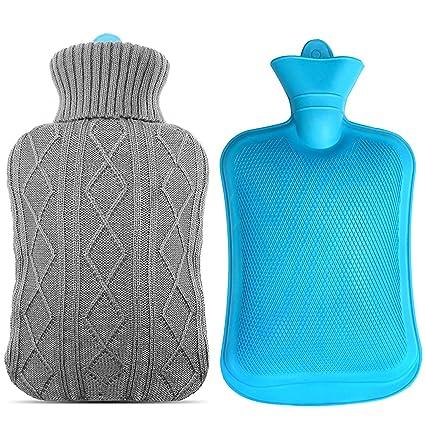 Mture Bolso Agua Caliente, Botella De Agua De Gran Capacidad Goma Natural Agua Caliente Bolsa, 2L (Gris)