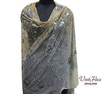 melocotón barco bufanda de tela de diseño floral INDIOS lentejuelas bufanda sari neta dupatta trabajo artesanal
