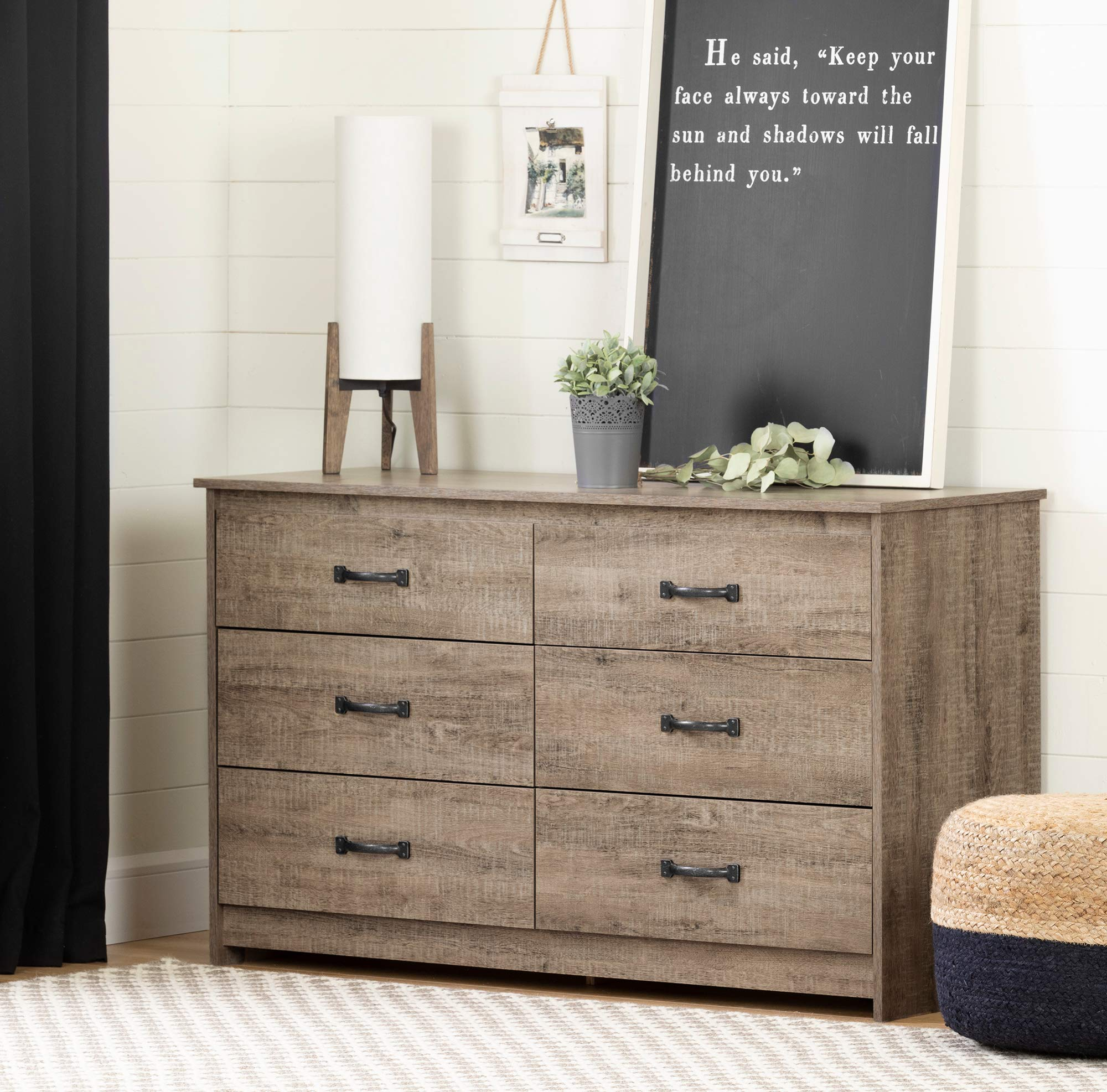 South Shore 12231 Tassio 6-Drawer Double Dresser Weathered Oak