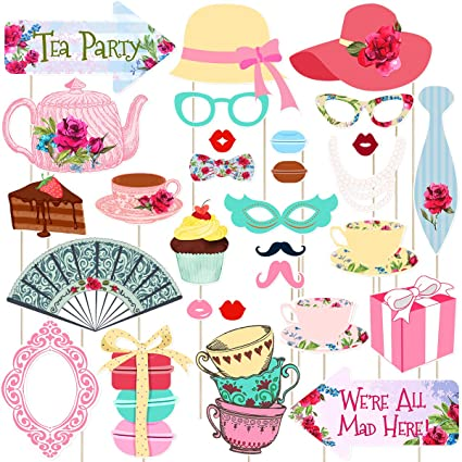 Amazon Com Tea Party Photo Booth Props Stick Props Tea Party