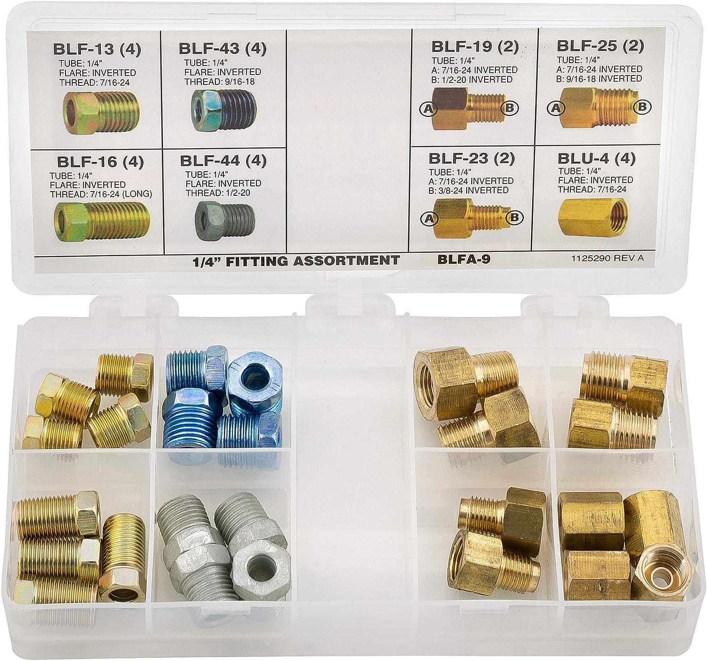 Adapter Fitting Assortment 3//16 Tube Nut Union 24 SKU AGS BLFA-8
