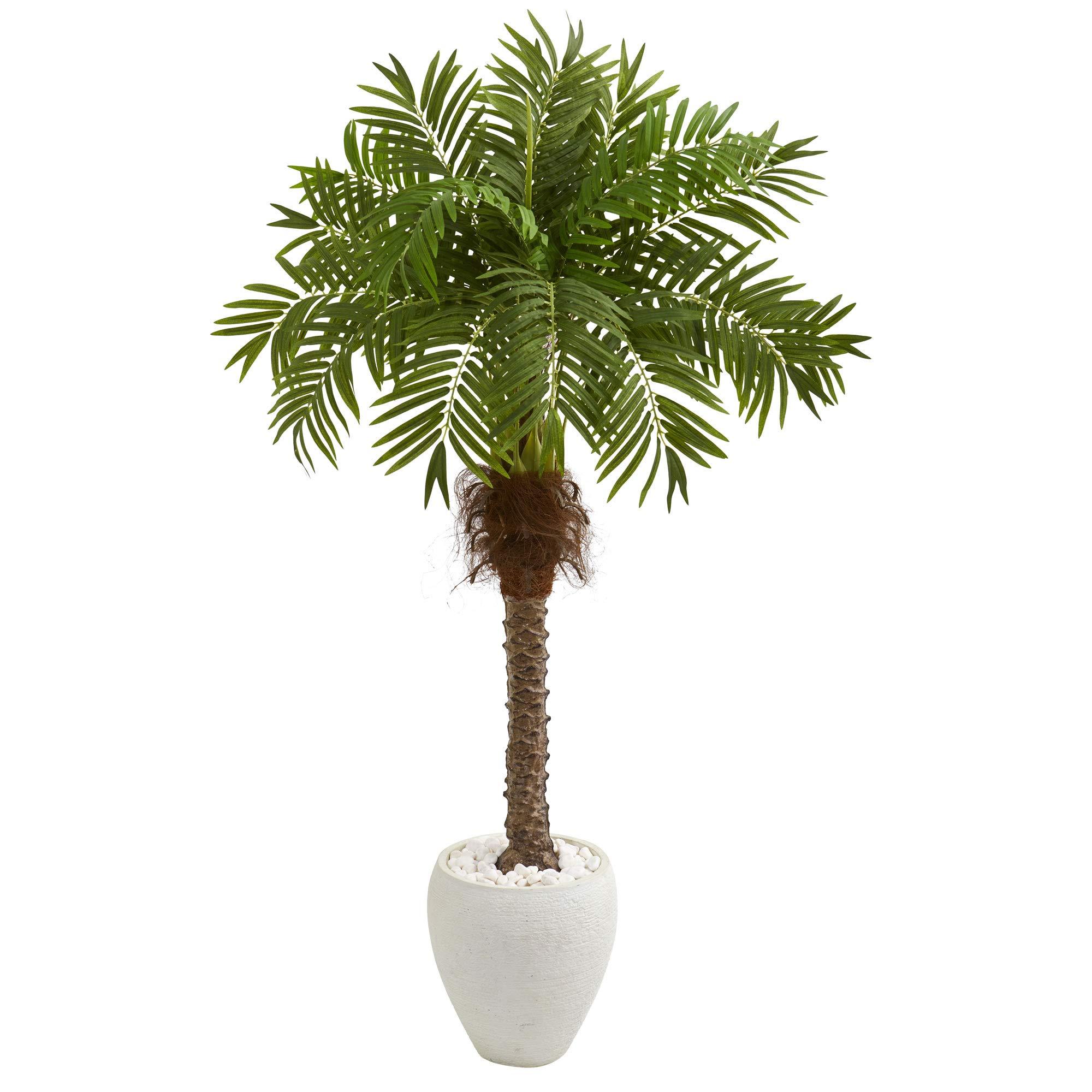 "Nearly Natural 9428 63"" Robellini Palm Artificial White Planter Silk Trees Green"
