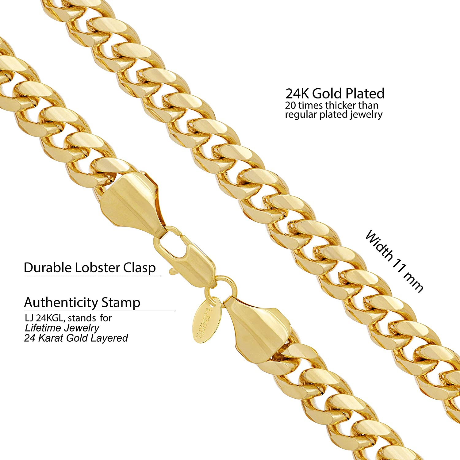 Lifetime Jewelry 11mm Cuban Link Chain Necklace for Men /& Teen 24k Gold Plated with Free Lifetime Replacement Guarantee