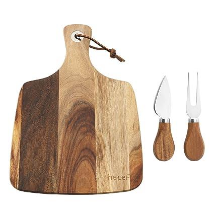 hecef Set de Tabla y Cuchillos para Cortar Queso, un Tabla de Madera de Acacia & un Cuchillo & un Tenedor, Tabla de Queso de Madera, Bandeja de ...