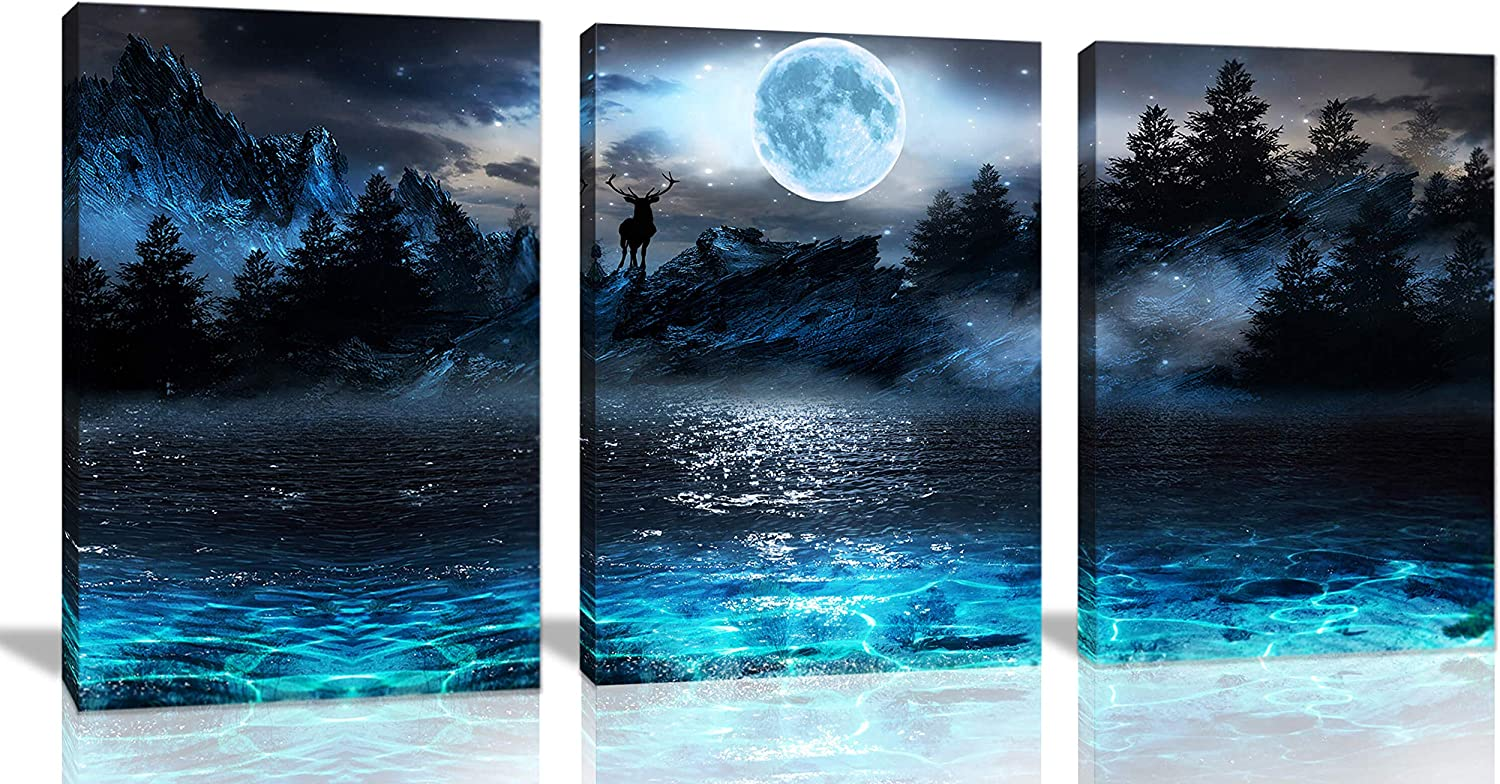 Wall Decorations for Living Room Moon Deer Ocean Landscape Picture Teen Room Decor Wall Art for Bedroom Modern Decor 3 Piece Framed Ready to Hang Moon Wall Art 3 Piece Wall Art Size 12x16 Each Panel