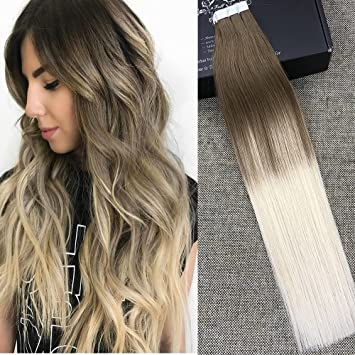 Full Shine 16quot Tape In Hair Extensions Human Ombre Balayage Dip