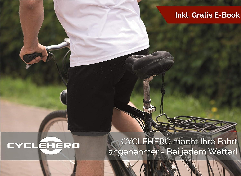 transpirable 2 a/ños de garant/ía Funda Sill/ín Bicicleta Gel para Sillines Estrechos Funda gel sill/ín bicicleta 28x18cm Ultra c/ómodo Sill/ín de gel para bicicleta de CYCLEHERO Antideslizante