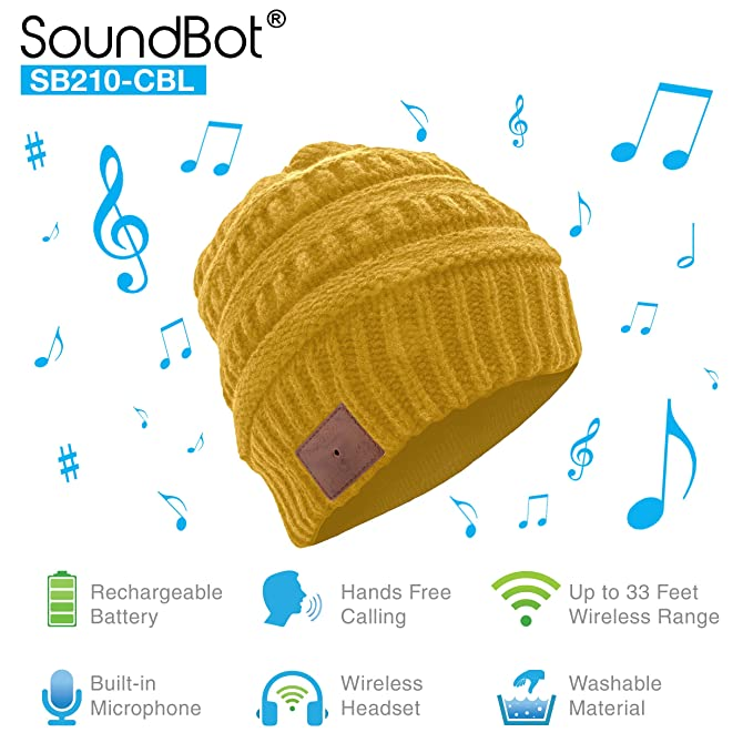 SoundBot¨ SB210 HD Stereo Bluetooth 4.1 Wireless Smart Beanie Headset  Musical Knit Headphone Speaker Hat 182d783b78a