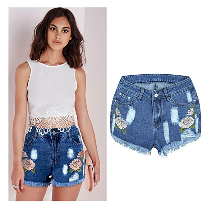 Amazon.com: Pantalones cortos vaqueros para mujer con diseño ...