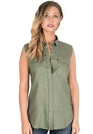 f7831754032 CAMIXA Women s 100% Linen Sleeveless Button-Down Two Pockets Shirt Cool  Casual XS Army