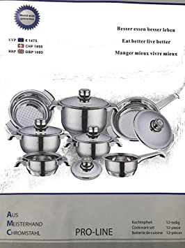 B-black Collar AMC PROLINE batería de Cocina de Acero de 12 Piezas: Amazon.es: Hogar
