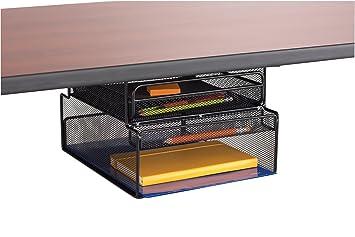 safco onyx mesh mountable under desk hanging storage black amazon rh amazon co uk Desk Under Bookshelf under desk shelves uk