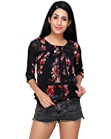Acanthus Black Floral Printed Balloon Top for Womens