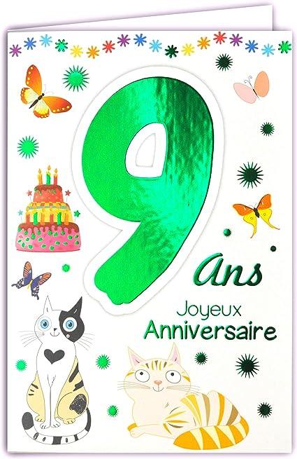 carte anniversaire garçon 9 ans Amazon.: 69 2009 Happy Birthday Card 9 Years Child Boy Girl