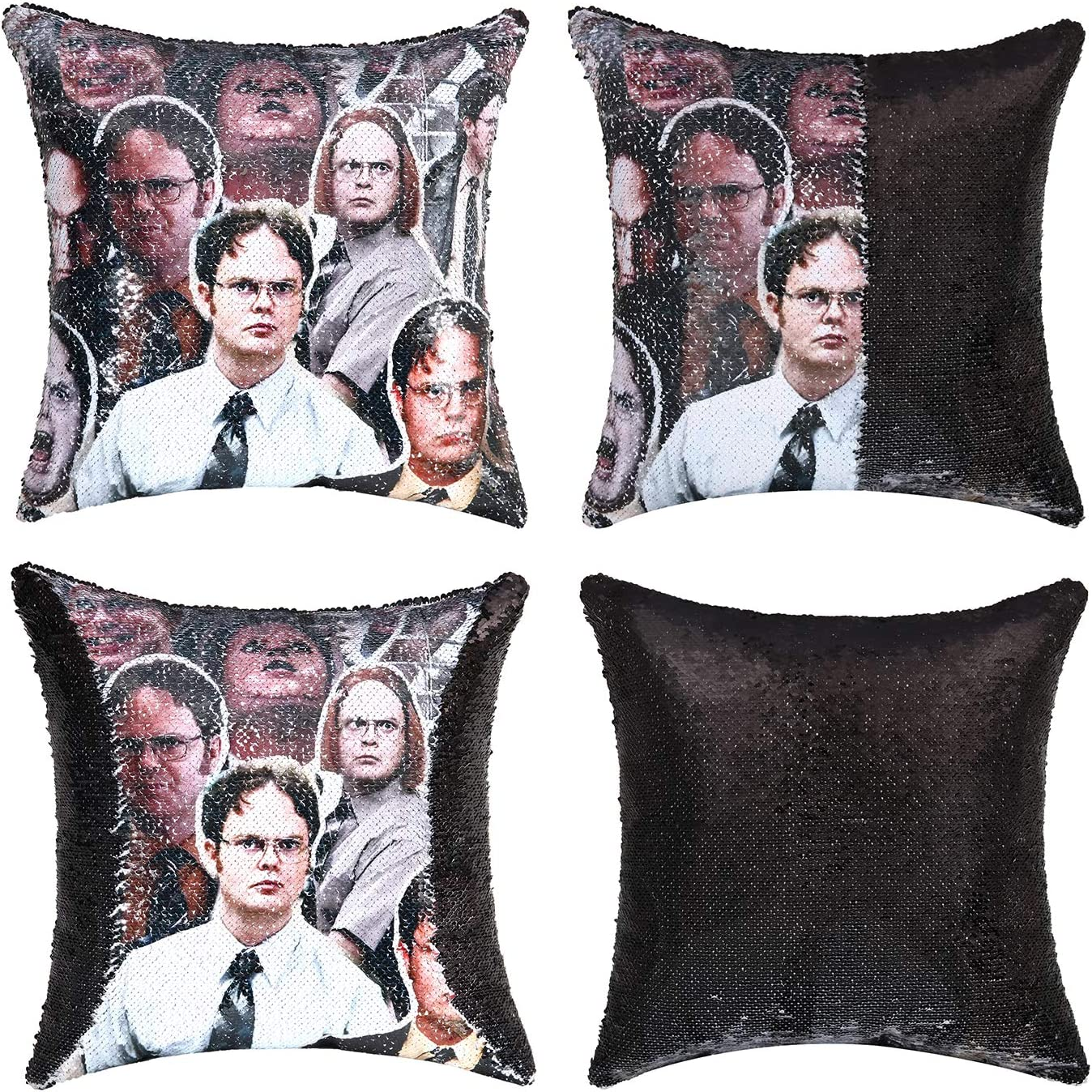 cygnus The Office Merch Dwight Schrute Sequin Pillow Cover Reversible Throw Pillowcase 16x16 inch Funny Gag Gifts for Adults