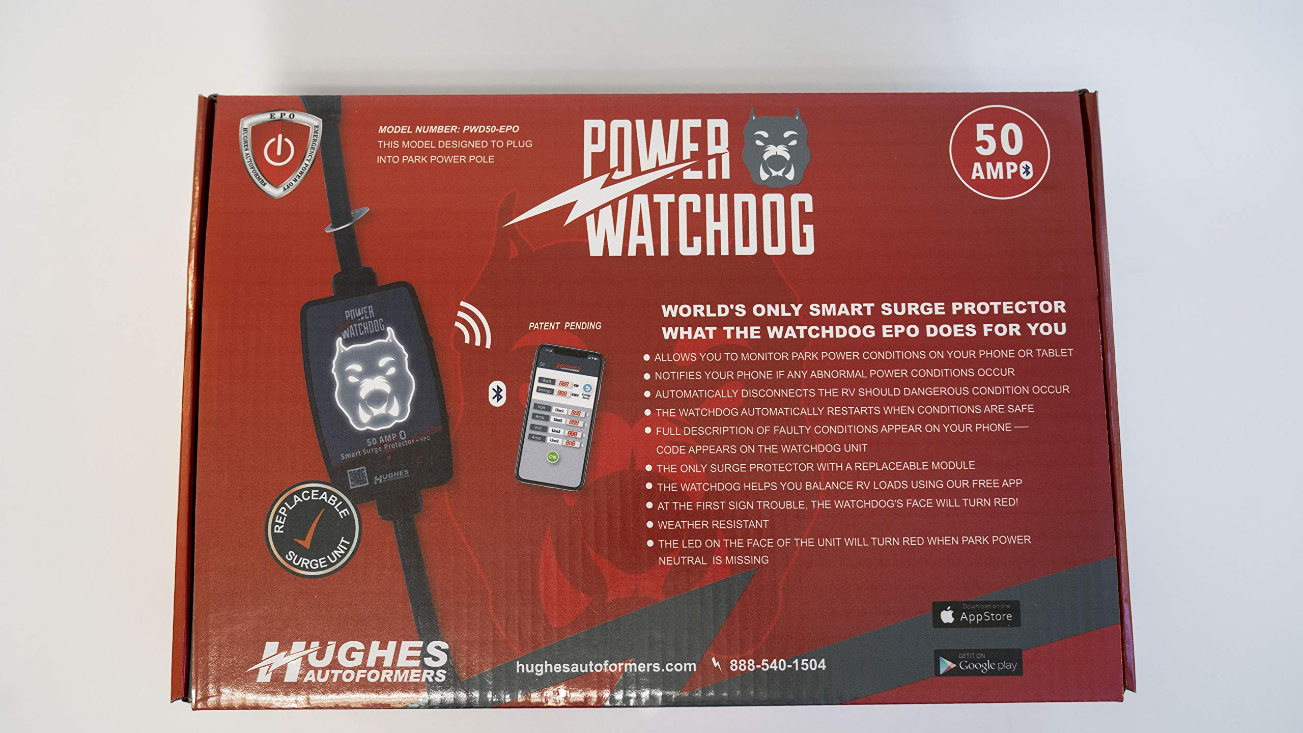 Hughes Autoformers PWD50-EPO-H Power Watchdog Smart Bluetooth Surge Protector Plus EPO with Auto Shutoff-50 Amp Hardwire Version by Hughes Autoformers