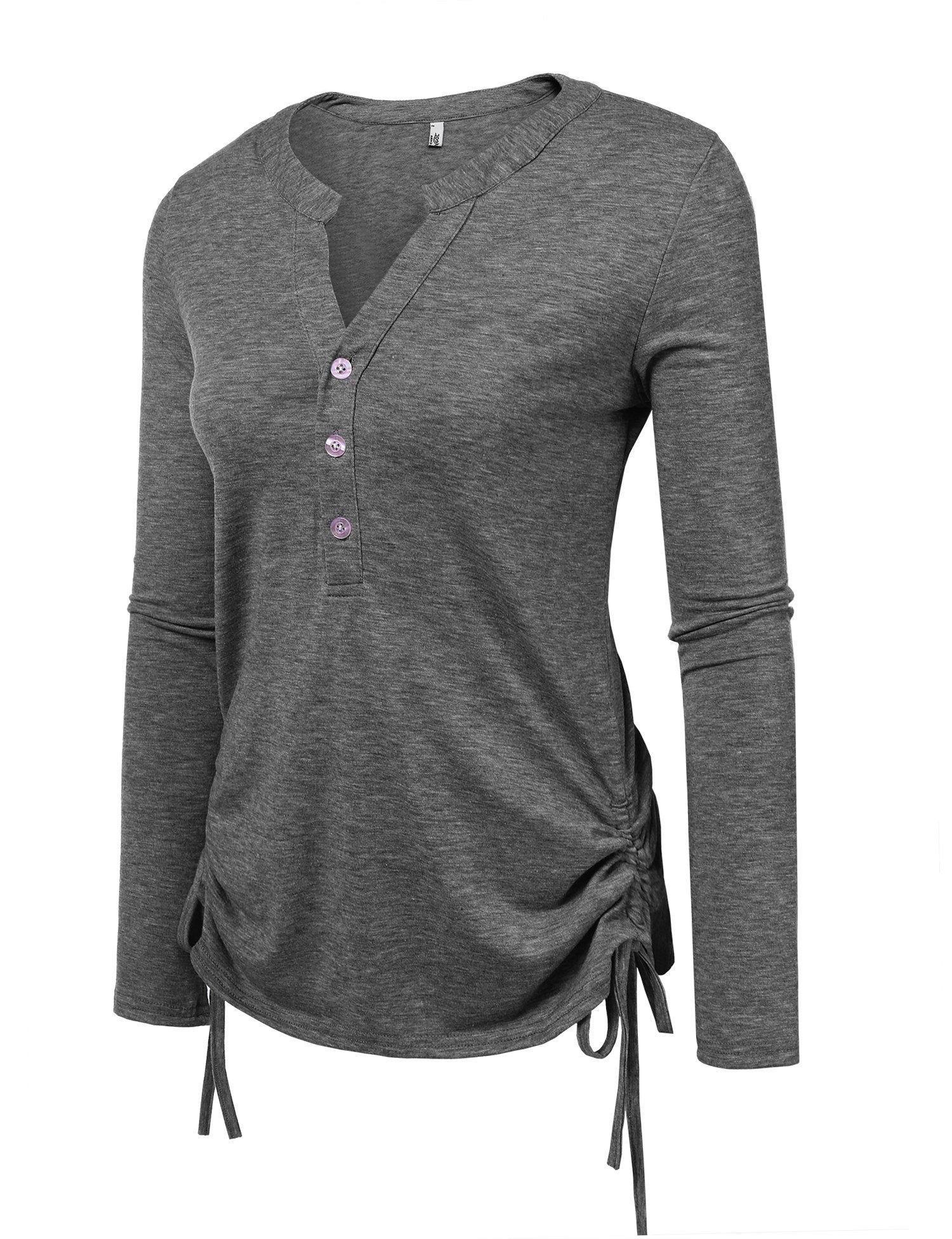 Zeagoo Womens Long Sleeve Thermal Cotton Henley Casual T-Shirt,Small,(A)dark Grey
