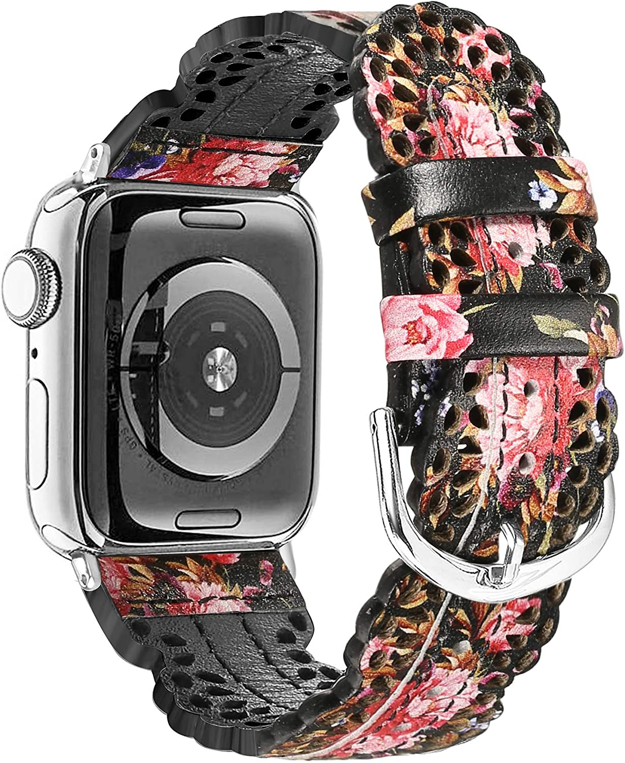Secbolt Leather Bands Compatible with Apple Watch Band 42mm 44mm iWatch Series 5 4 3 2 1, Chic Lace Leather Strap for Women, Black/Pink Floral (42mm/44mm)